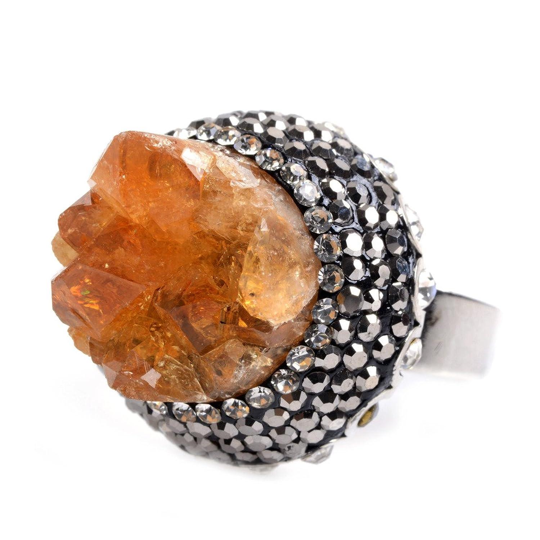 amandastone Natural Gemstone Drusy Anillo Ajustable