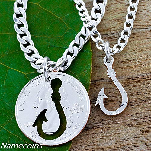 Fishing Hook, You are the Catch of my Life, jewelry, Hand Cut Coin, By NameCoins