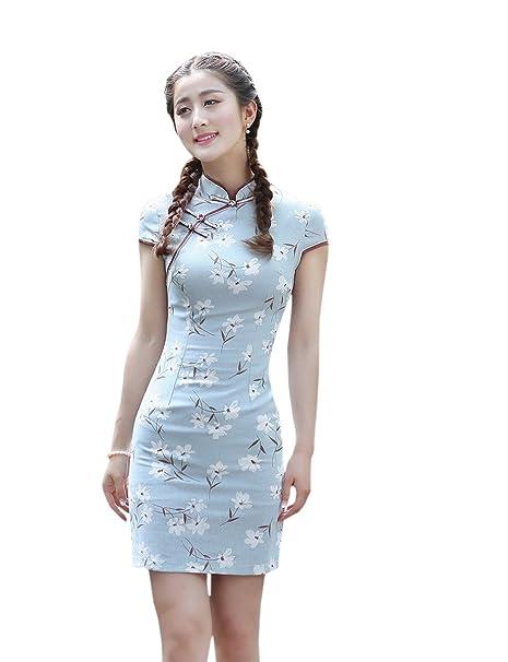 YueLian Mujeres Retro Modificado Manga Corta Flores Blancas Vestido Mini Cheongsam Qipao Azul Celeste (L