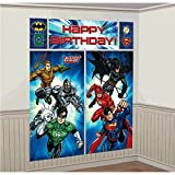 Amscan Adventure Filled Justice League Birthday Party Scene Setters Wall Decorating Kit, Multi Colored, Vinyl, 59