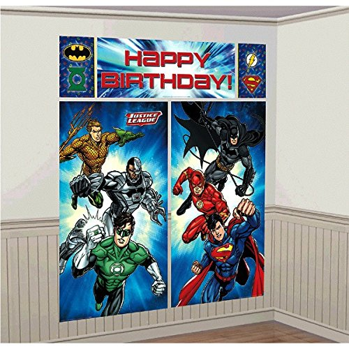 Adventure Filled Justice League  Birthday Party Scene Setters  Wall Decorating Kit, Multi Colored, Vinyl, 59
