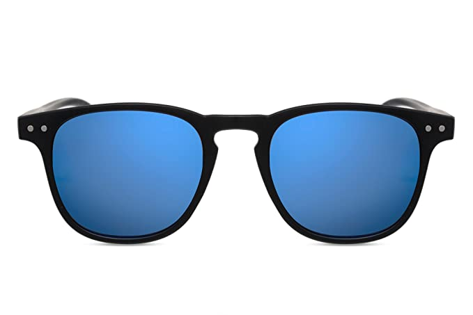 Cheapass Runde Sonnenbrille Holz Braun Blau Verspiegelt-e Brille UV-400 Plastik Damen Herren uRBTu