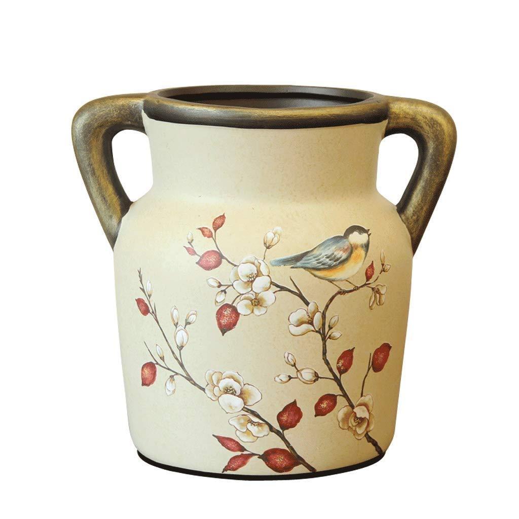 シックな花瓶 生命花瓶AXZHYZ190603006家の装飾レトロ耳セラミック装飾品19.5センチ×13.5センチ×10.2センチ 写真シックな花瓶シリンダー花瓶、装飾用花瓶 B07SL6K97P