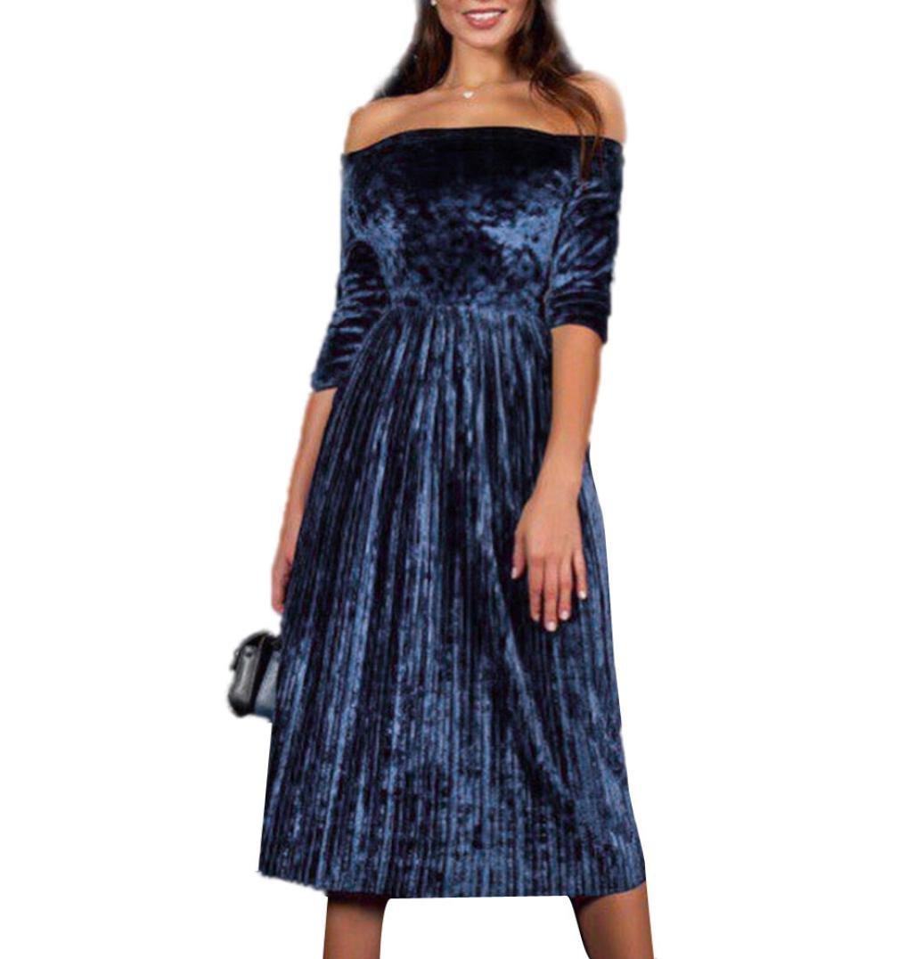 Snowfoller Winter Bodycon Off The Shoulder Dress Women Three Quarte Sleeve Evening Party Mini Pleated Skirt Knee-Length Dress (M, Blue)