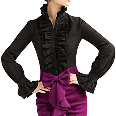 bb005211c44a90 Loralie Women Vintage Victorian Button Down Trumpet Sleeve Tops High Neck  Frilly Ruffle Shirt Blouse (