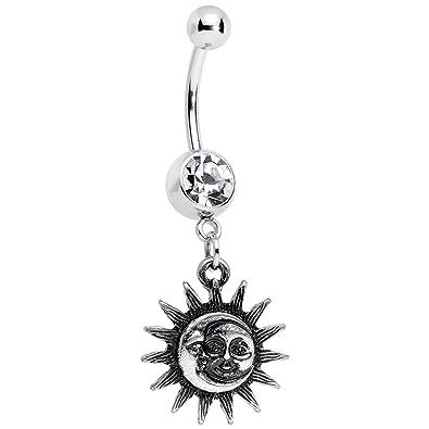 Amazon Com Body Candy Sun Meets Moon Celestial Dangle Belly Ring