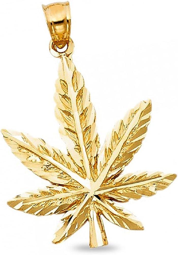 Solid 14K Yellow Gold Marijuana Leaf Pendant