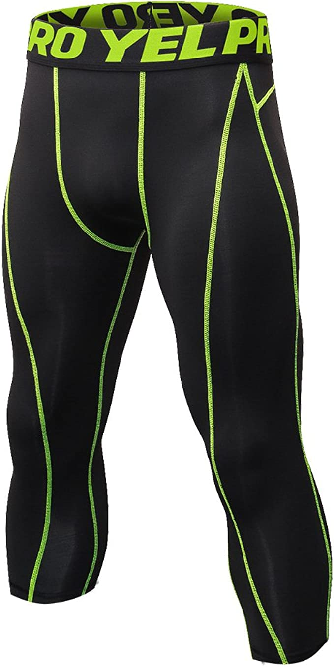 Yuerlian 3//4 Mens Compression Leggings Base Layer Cool Dry Breathable Running Tights Pants