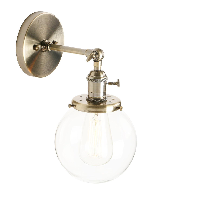 Pathson Réglable Applique Abat-jour en Verre Lampe Rétro Industrial Lampe Murale Plafonnier Rétro Eclairage pour Café, Cuisine, Salle à Manger et Grenier (Ampoule Non Inclus) Antique