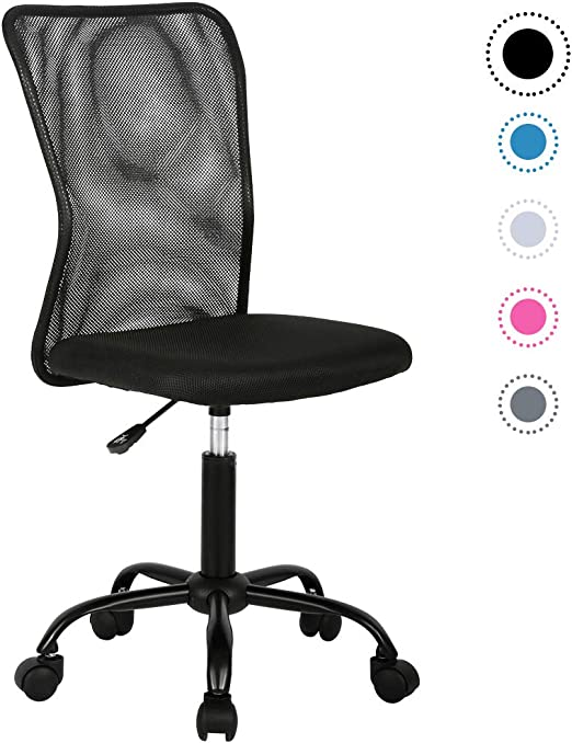 Amazon Com Simple Mesh Office Chair Ergonomic Office Chair Armless Home Office Chair Adjustable Computer Chair Task Rolling Swivel Chair Black Desk Chair Drafting Chair For Working Meeting Reception Place Kitchen Dining