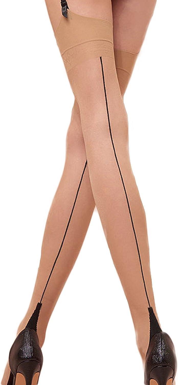 Grande Taille 36-46 Yummy Bee Bas Transparent Silky pour Jarretelle avec Couture Arri/ère et Couture Havana