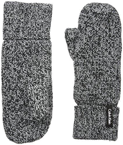 Calvin Klein Women's Shaker Stitch Mittens, Black, One Size
