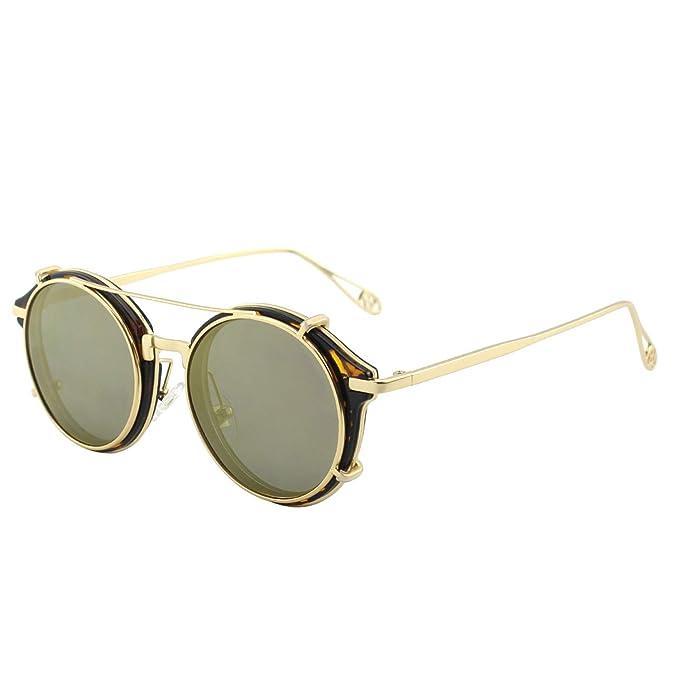 5b656a441 Amazon.com: CGID Clip on Sunglasses Polarized Steampunk Metal Retro ...