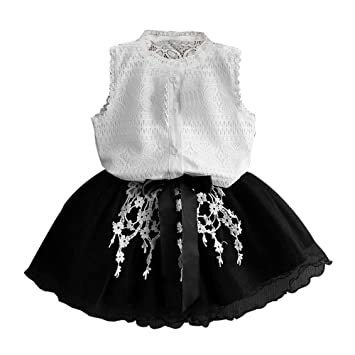 b11eb23f095 2019 New Skirt Set for Girls Crochet Lace Shirt Tops Tulle Tutu Dress Flower  Princess Party