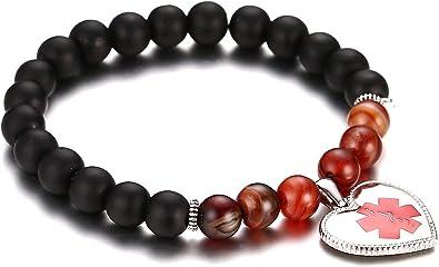 JF.JEWELRY Personalized Custom Engraving Medical Alert ID Bracelet for Women Girls Natural Stone Beads Allergy Bracelet