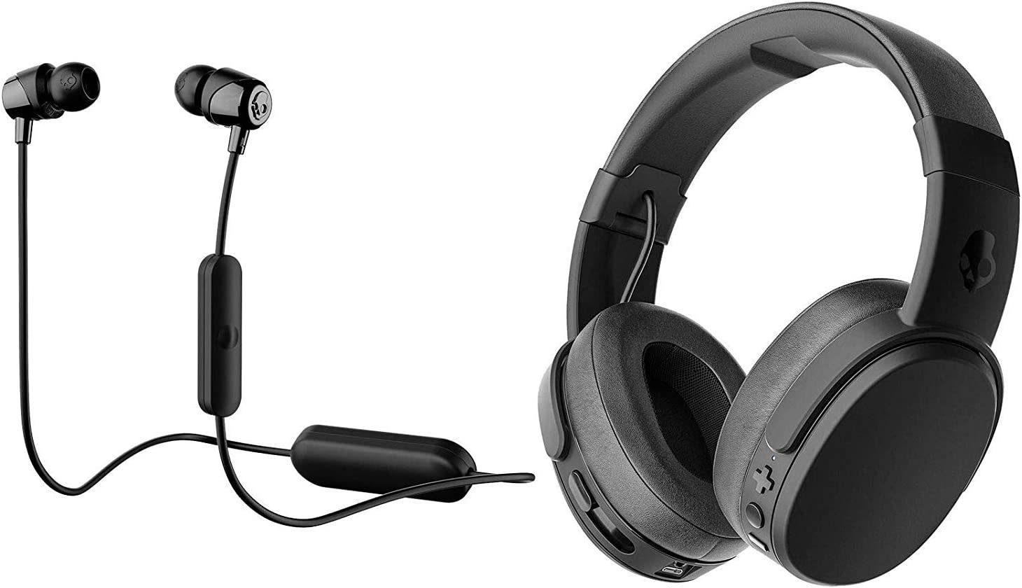Skullcandy Crusher Foldable Noise Isolating Over-Ear Wireless Bluetooth Immersive Headphone Bundle with Skullcandy Jib Bluetooth Wireless in Ear Earbuds - Black, Black