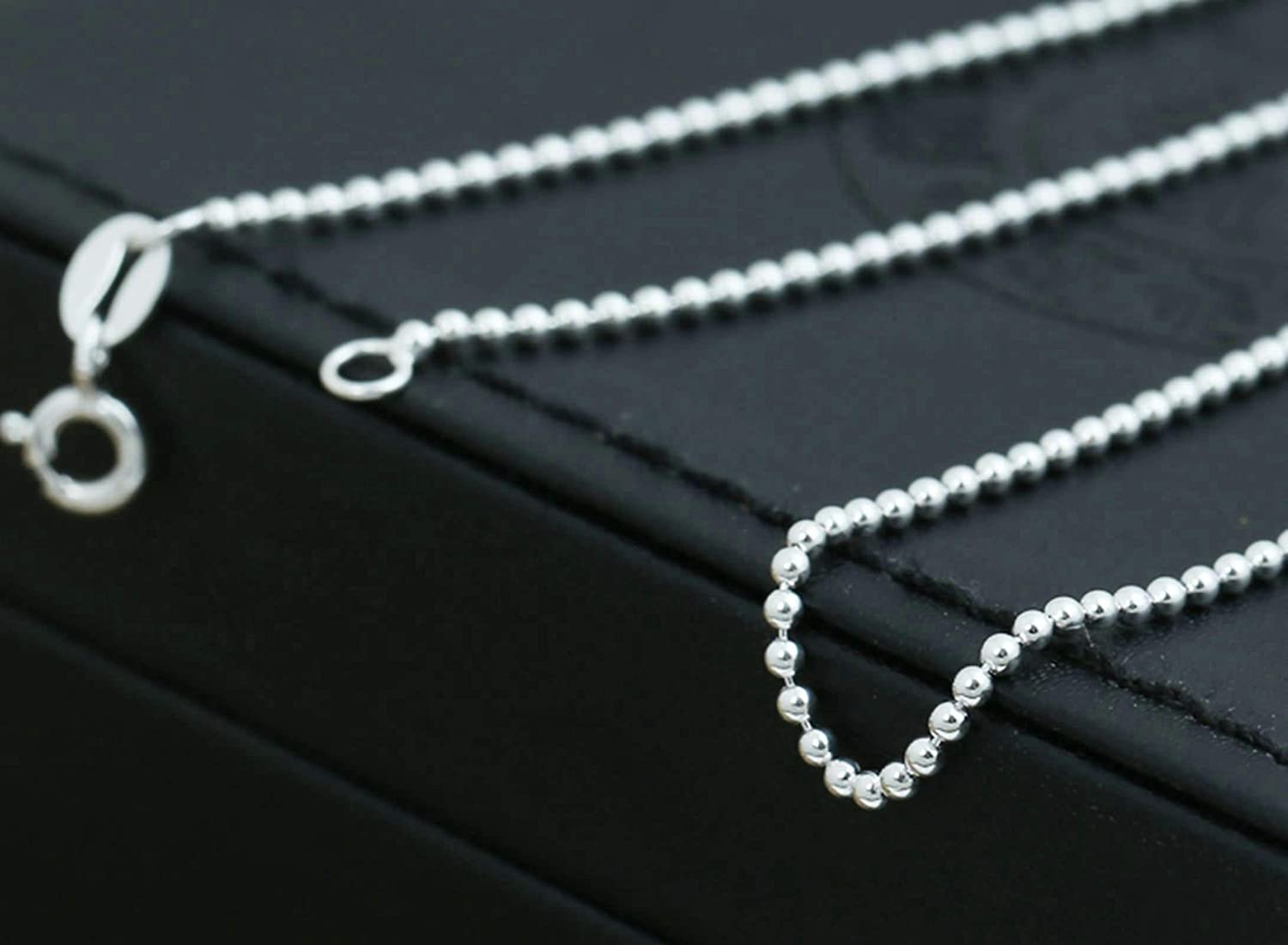 Aeici Mens Sterling Silver Necklace Round Bead Chain Personalized Necklace