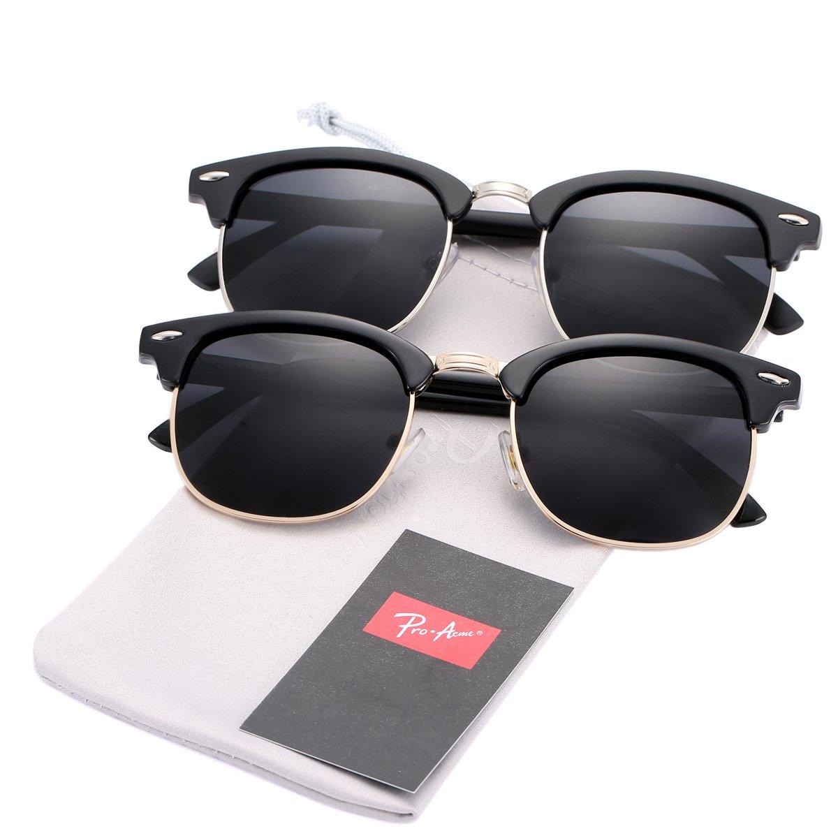 Pro Acme (Pack of 2) Semi Rimless Polarized Clubmaster Sunglasses for Men Women (Bright Black Frame/Black Lens + Matte Black Frame/Black Lens)