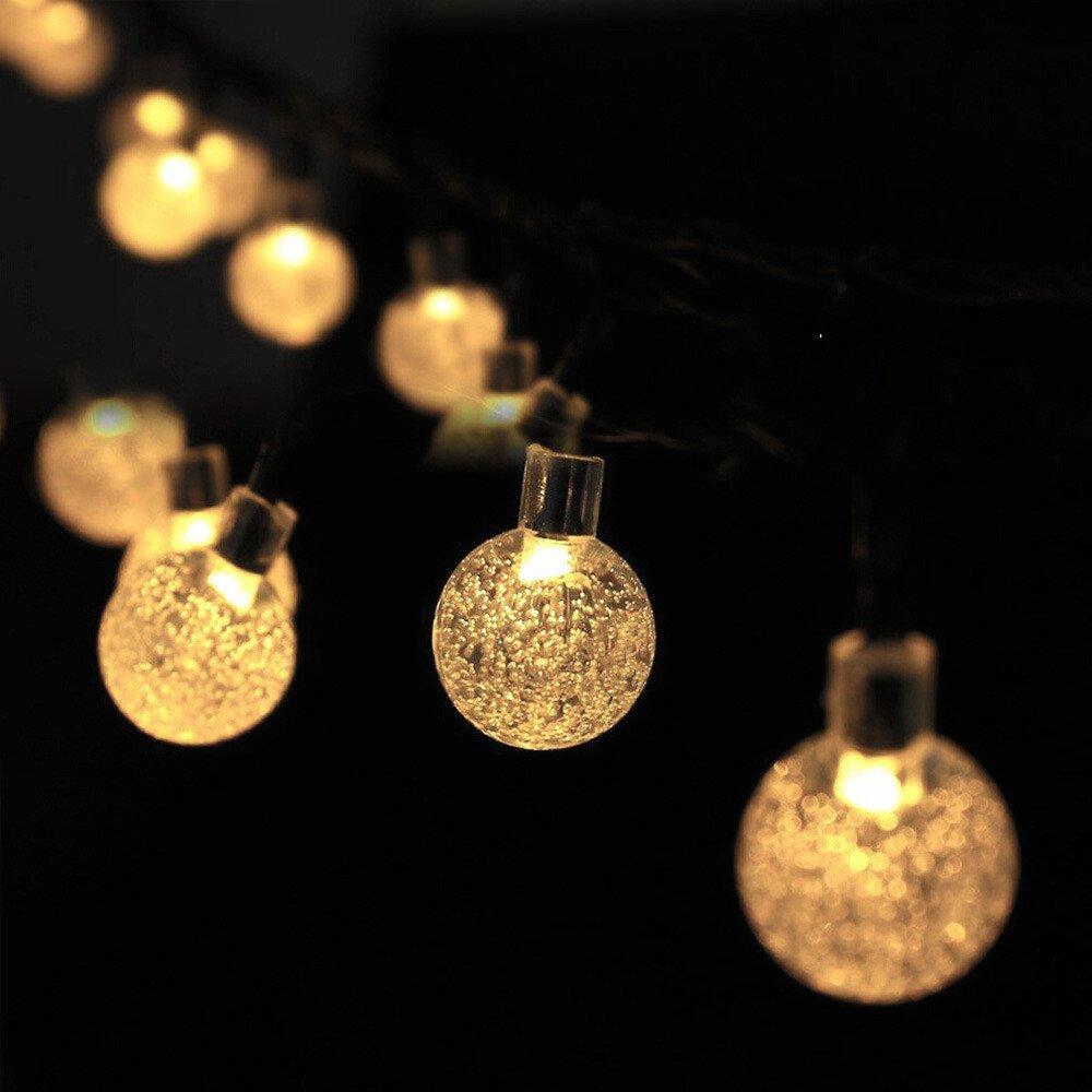 Parties 25Ft Waterproof Indoor//Outdoor Fairy Lights for Garden Solar String Lights Garden LED Outdoor String Lights Crystal Ball Decorative Lights Patio Christmas Yard Home