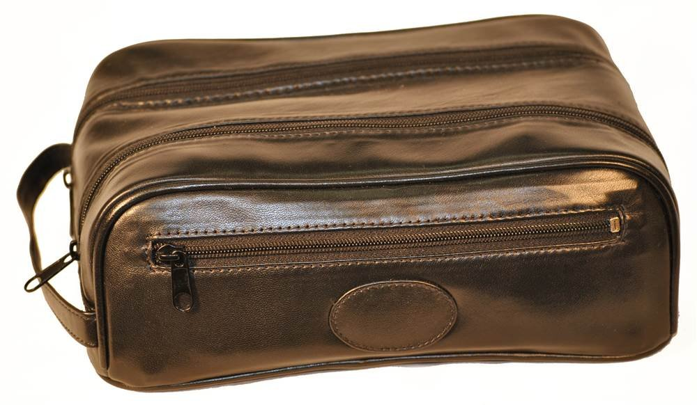 Toiletry Bags with 2 Top Zippers in Black by Budd Leather