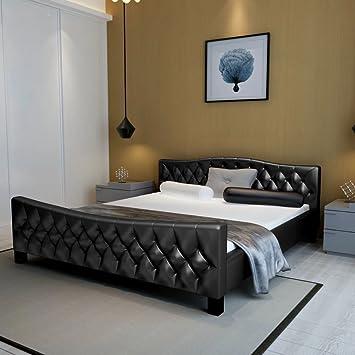 WEILANDEAL Cama Doble con colchon Cuero Artificial Negra 180x200 cm Camas Altura de la Cama Desde el Suelo: 38 cm: Amazon.es: Hogar