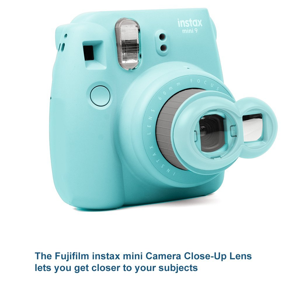 FujiFilm Instax Mini 9 Camera and Accessories Bundle - Instant Camera, Carrying Case, Color Filters, Photo Album, Stickers, Selfie Lens + MORE (Ice Blue)
