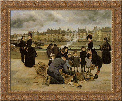 Children with a Toy seller on the Quai du Louvre 23x20 Gold Ornate Wood Framed Canvas Art by Beraud, Jean ()