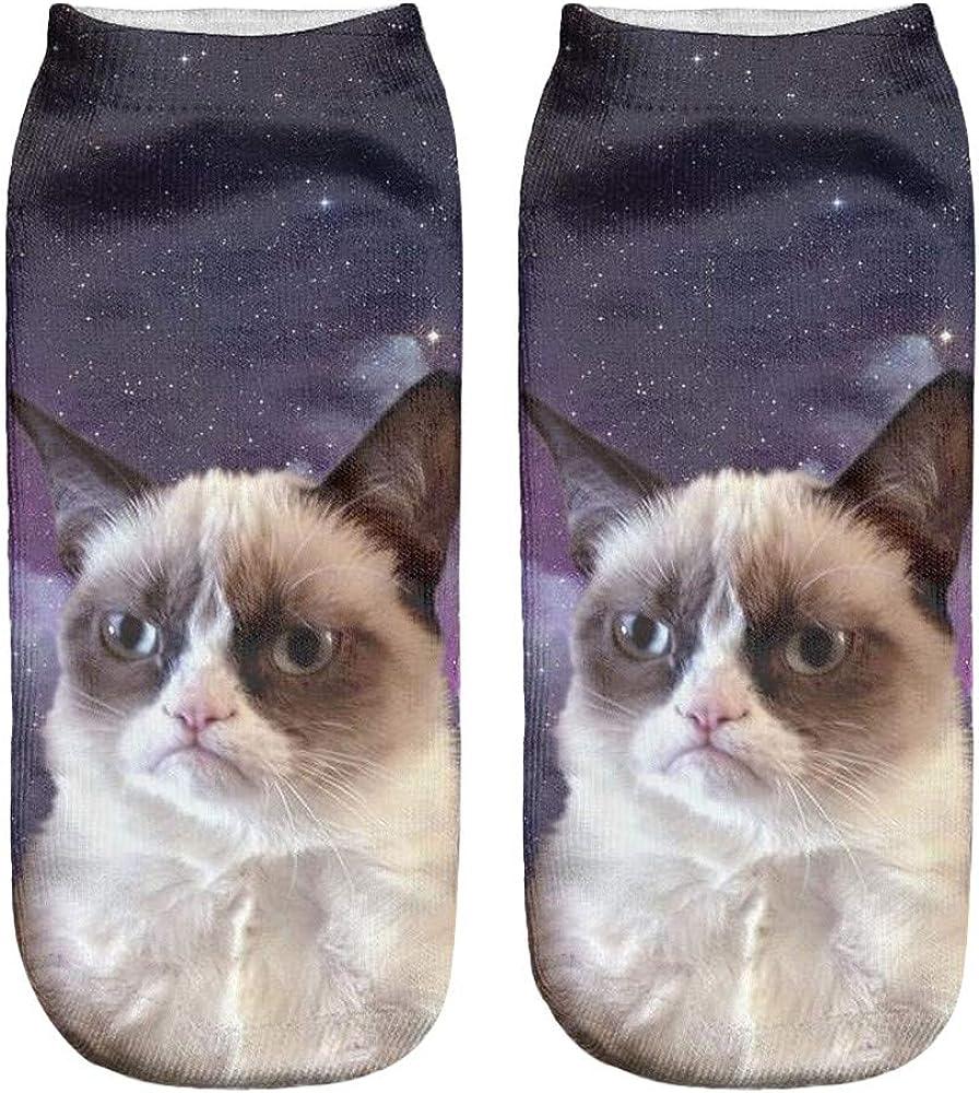 Christmas Funny Unisex Short Socks 3D Cat Print Socks Casual Low Cut Ankle Socks Holiday Xmas Gift