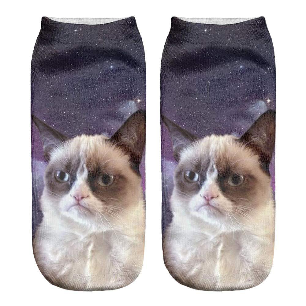 YJYDADA Socks,Popular Funny Unisex Short Socks 3D Cat Printed Anklet Socks Casual Socks (E)