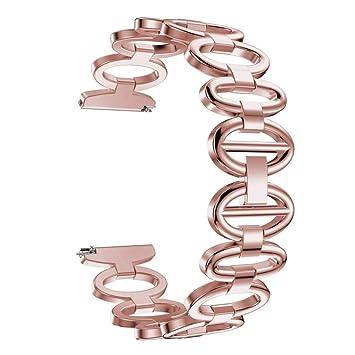 Conquro Estilo de Huevo de Ganso Correa de Banda de Acero Lujoso Acero Inoxidable Accesorio Reloj Banda Correa Metal wirstband para ZenWatch 2 (Rosa): ...