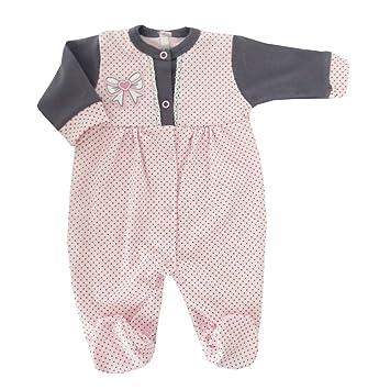 Pijama Pelele gris lazo de color rosa & puntos rosa rosa y gris Talla:6
