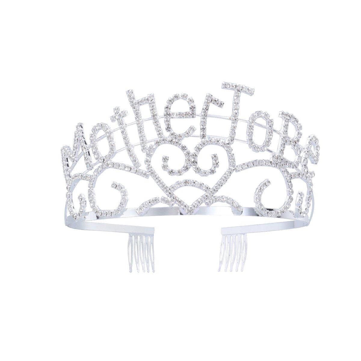 Frcolor Metall Mutter zu Silber Tiara Herzen Krone mit funkelnden Strass für Baby Dusche Zukunft Erwartung Mama Dekorationen Geschenk DA161603TR8145607