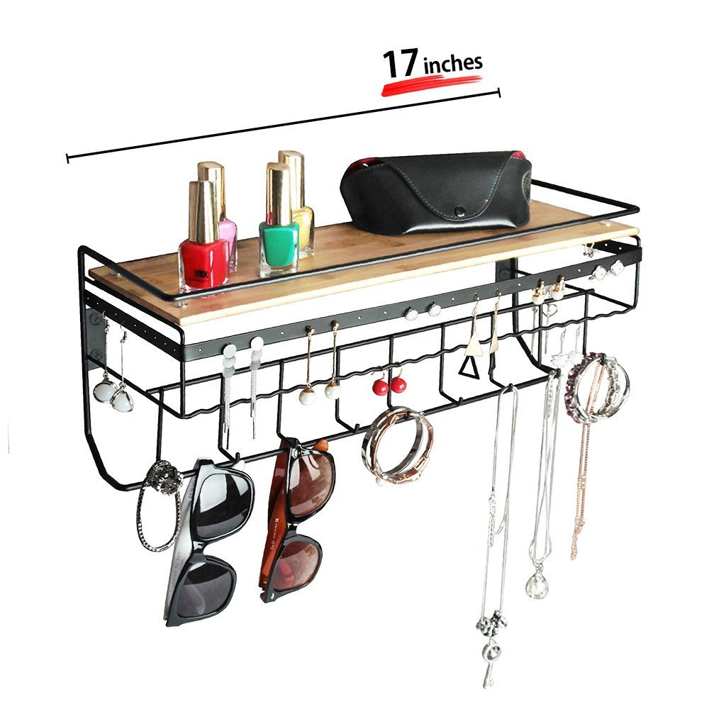 JackCubeDesign Hanging Jewelry Organizer Necklace Hanger Bracelet Holder Wall Mount Necklace Organizer with 9 Hooks and Bamboo Support(Black,16.9 x 5.9 x 7.1 inches) - MK237A FBA_14188874