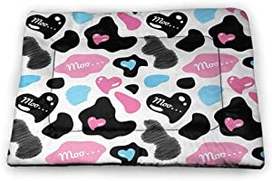 Nomorer Large Dog Mat Cow Print for Food and Water for Wood Floors Lovely Cow Hide with Cute Hearts Moo Barnyard Love Abstract Design 40