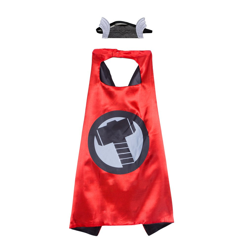 Kids Superhero Capes And Mask,Dress Up cape For Birthday Party Costume(Thor)
