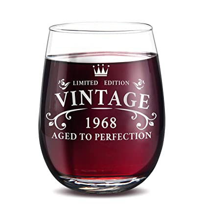 GALAROES 1968 50th Birthday Gifts For Women And Men Stemless Wine GlassFunny Novelty 15