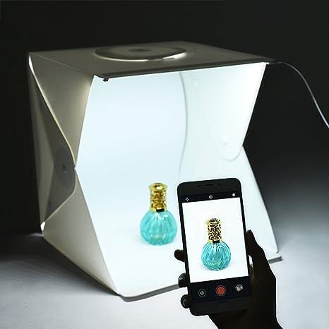 vanyda portátil cámara Photo Studio Caja de luz plegable fotografía Cube tienda de campaña Kit de iluminación con 2-led-strips 40 x 40 x 40 cm fondos de (blanco y negro): Amazon.es: Electrónica