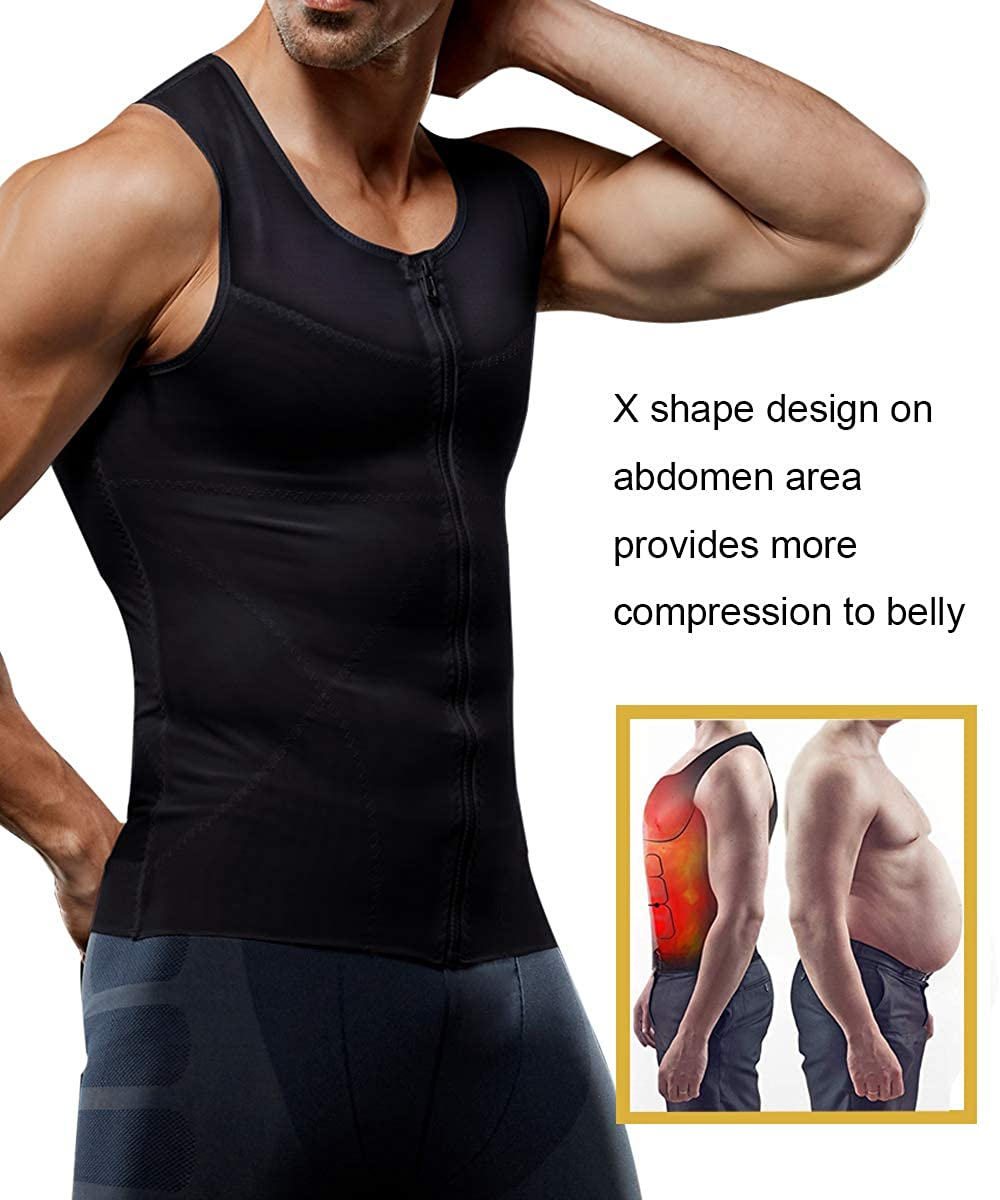 Mens Slimming Body Shaper Vest Chest Compression Shirt Abs Abdomen Shapewear Tank Top Undershirt Zipper