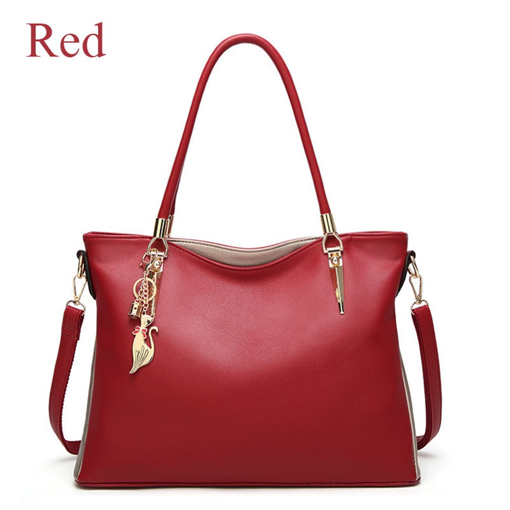 Chic-Dona Handbags Women Bag PU Soft Leather Shoulder Bags For Women Fashion Luxe Woman Bag Red About 36cm 13cm 27cm