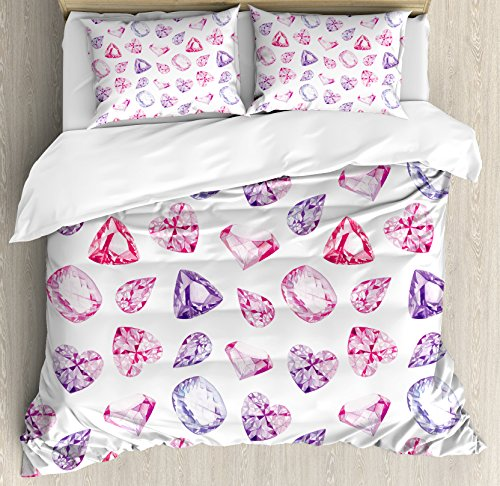 Ambesonne Diamond Decor Duvet Cover Set King Size, Amethyst Heart and Triangle Shaped Diamonds Hanging Digital Prints Art, Decorative 3 Piece Bedding Set with 2 Pillow Shams, Pink Purple (Amethyst King)