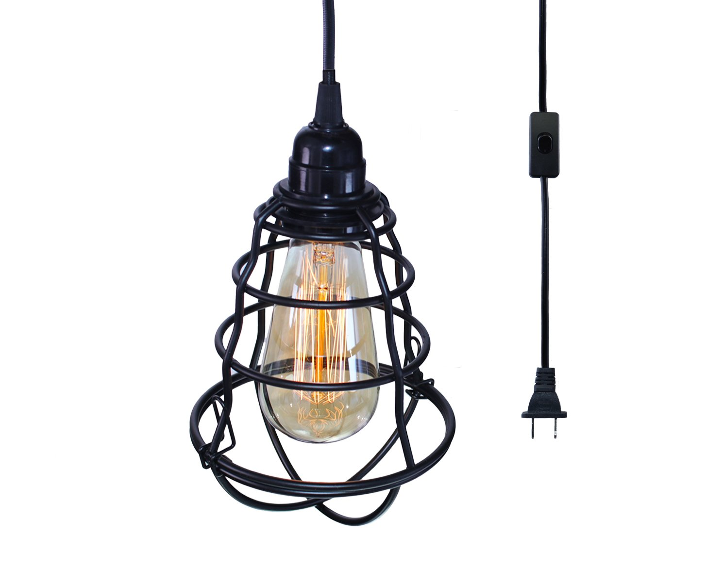 INNOCCY Industrial Plug in Pendant Light Metal Vintage Hanging Cage Pendant Lighting E26 E27 Mini Pendant Light Edison Plug in Light Fixture On/Off Switch