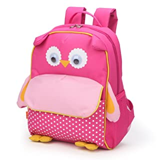 Yodo Little Kids School Bag Pre-K Toddler Backpack - Name Tag and Chest Strap, Owl