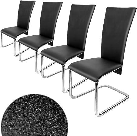 Salle Noir Design Cantilever en Faux Dossier Lot à 4 Haut de chaises Cuisine Intemporel Porte Manger Salon à SMpzVU