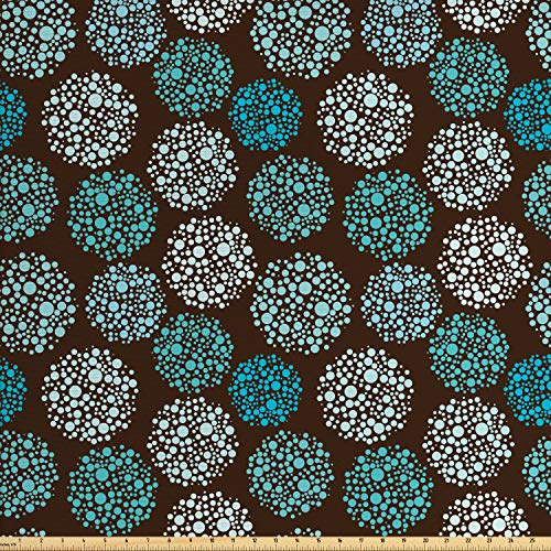 Ambesonne Brown and Blue Fabric by The Yard, Dots Forming Oval Shapes Retro Style Abstract Geometric Vintage, Decorative Fabric for Upholstery and Home Accents, 2 Yards, Brown Turquoise - Dots Upholstery