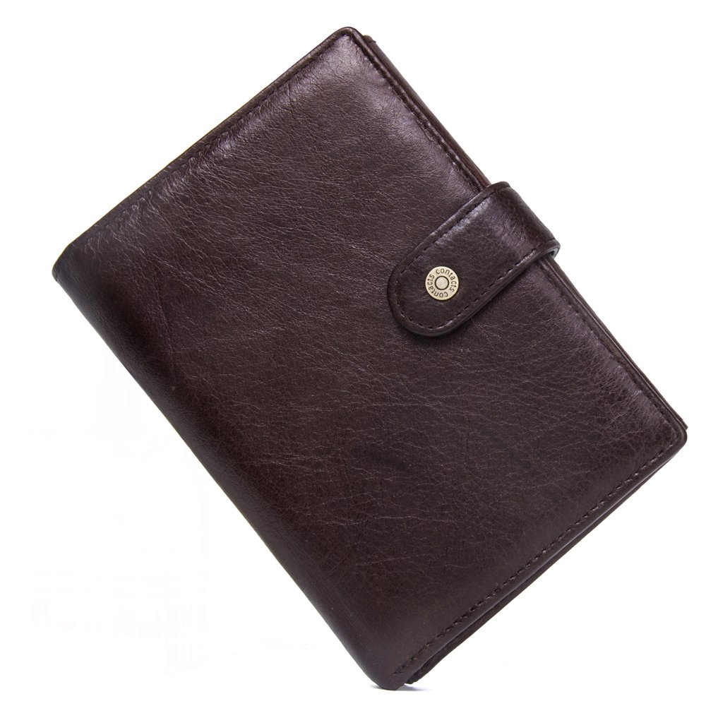 Contacts Mens Genuine Leather Travel Passport Card Holder Purse Wallet Dark Brown