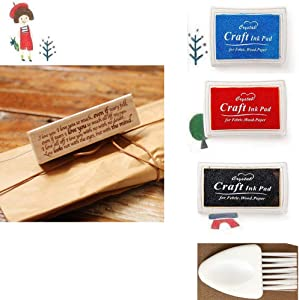 1 Wood Rubber Stamp(Love Letter) for Scrapbooking, Card Making, DIY Crafts + 3 Different-Colored Ink Pads + 1 Small Cleaning Brush.