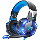 VersionTECH. G2000 Gaming Headset for PS5, PS4, PC, Xbox One, Surround Sound Over Ear Headphones with Mic, LED Light for Mac