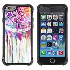 LASTONE PHONE CASE / Suave Silicona Caso Carcasa de Caucho Funda para Apple Iphone 6 PLUS 5.5 / Fractal Colorful Pink Happy Girl