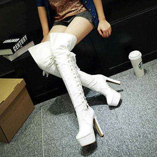 Frauen Starke Ferse Mode Lackleder über Knie Hohe Stiefel Winter Rot Stiefel (40, Weiß)