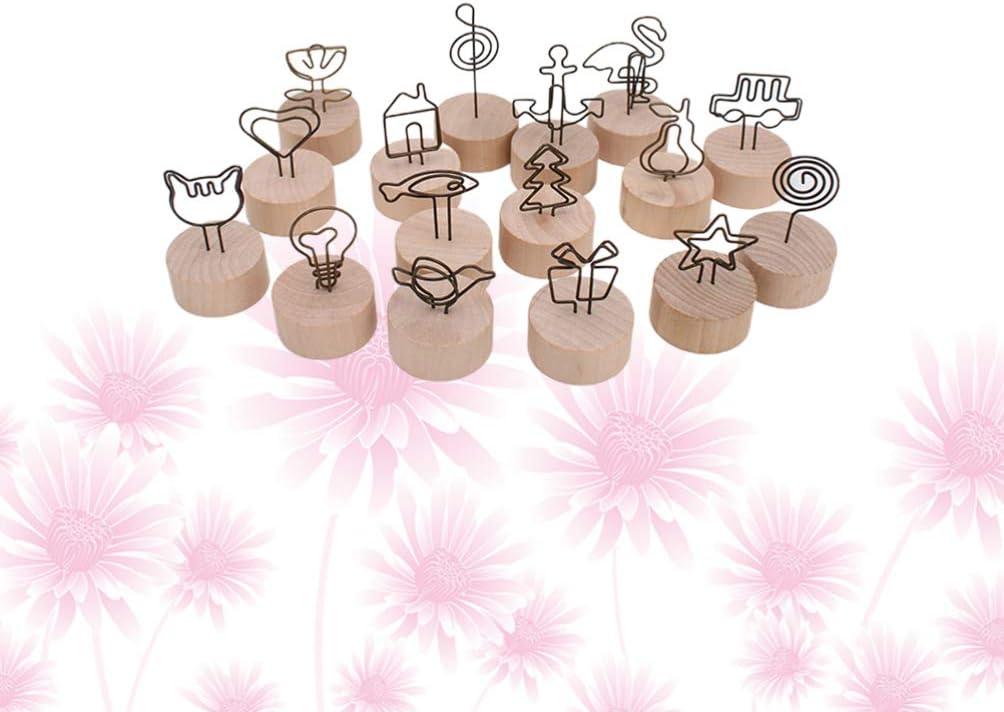 Amosfun 16pcs fermacarte in Legno Supporto da Tavolo fermacarte Foto visualizzazione Foto Supporto Clip memo Note Carte per Matrimonio Compleanno Festa di Natale